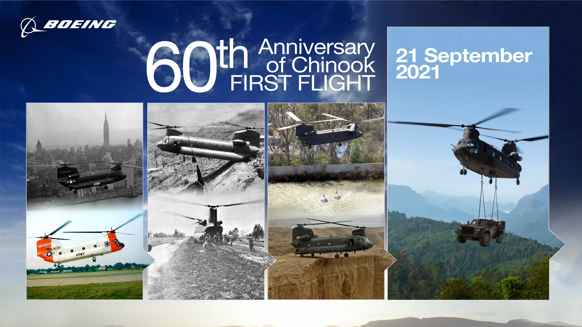 Display image with photos of the Chinook through its 60 year history